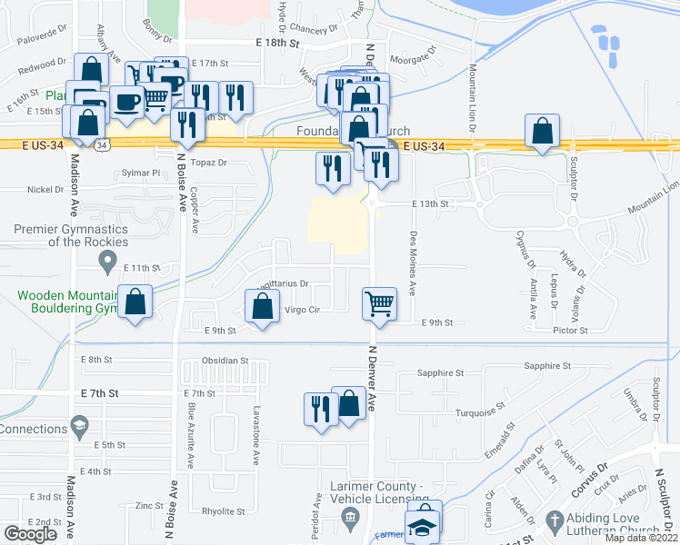 map of restaurants, bars, coffee shops, grocery stores, and more near 2174 East 11th Street in Loveland