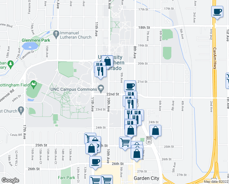 map of restaurants, bars, coffee shops, grocery stores, and more near 917 22nd Street in Greeley