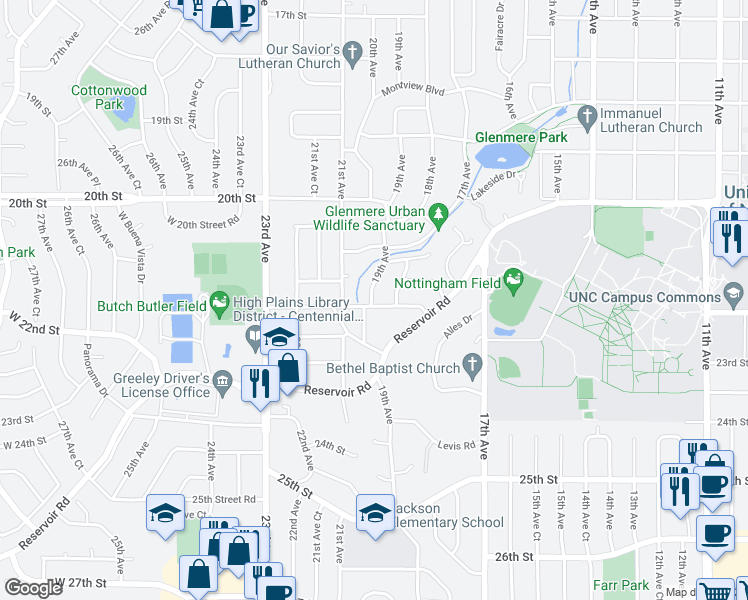 map of restaurants, bars, coffee shops, grocery stores, and more near 2154 19th Avenue in Greeley