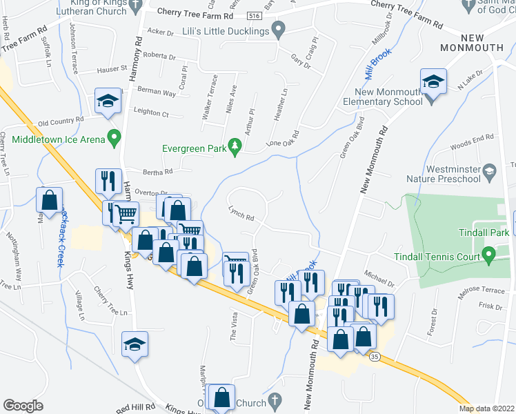 map of restaurants, bars, coffee shops, grocery stores, and more near 63 Lillian Place in Middletown Township
