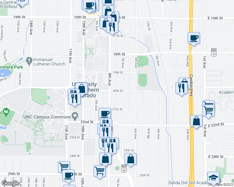 map of restaurants, bars, coffee shops, grocery stores, and more near 2015 7th Avenue in Greeley