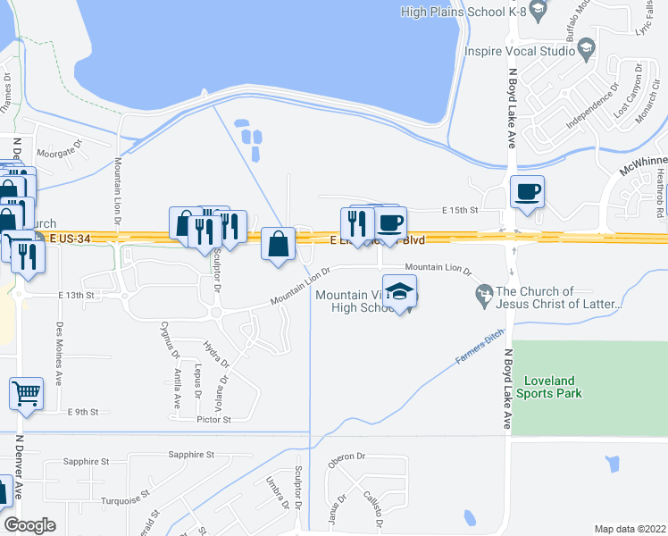 map of restaurants, bars, coffee shops, grocery stores, and more near 2900 Mountain Lion Dr in Loveland