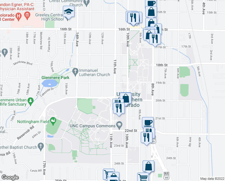 map of restaurants, bars, coffee shops, grocery stores, and more near 1923 11th Avenue in Greeley