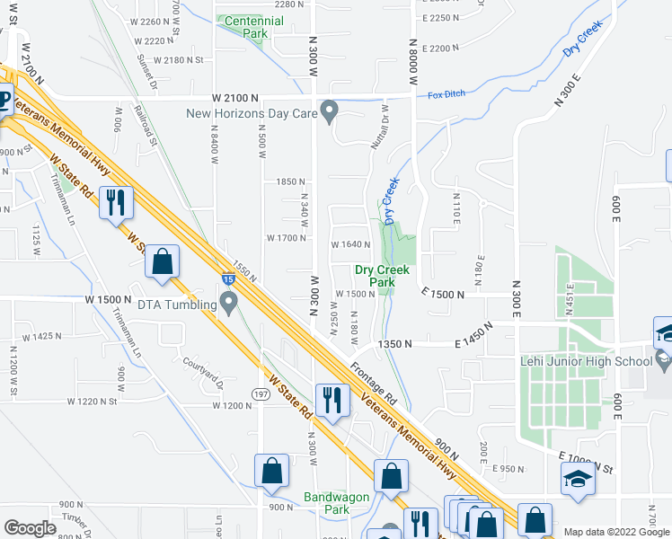 map of restaurants, bars, coffee shops, grocery stores, and more near 1564 North 250 West in Lehi
