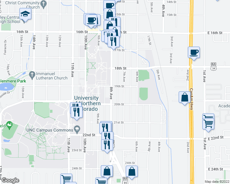 map of restaurants, bars, coffee shops, grocery stores, and more near 1912 8th Ave in Greeley