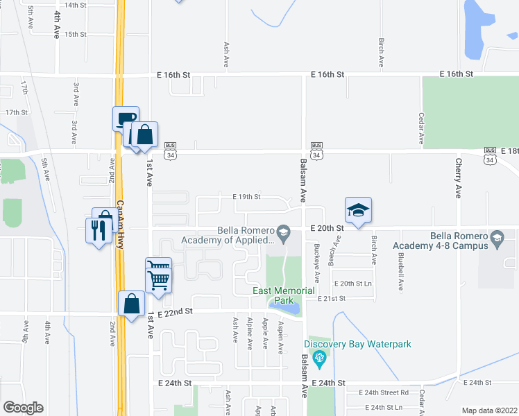 map of restaurants, bars, coffee shops, grocery stores, and more near 501 East 19th Street Road in Greeley