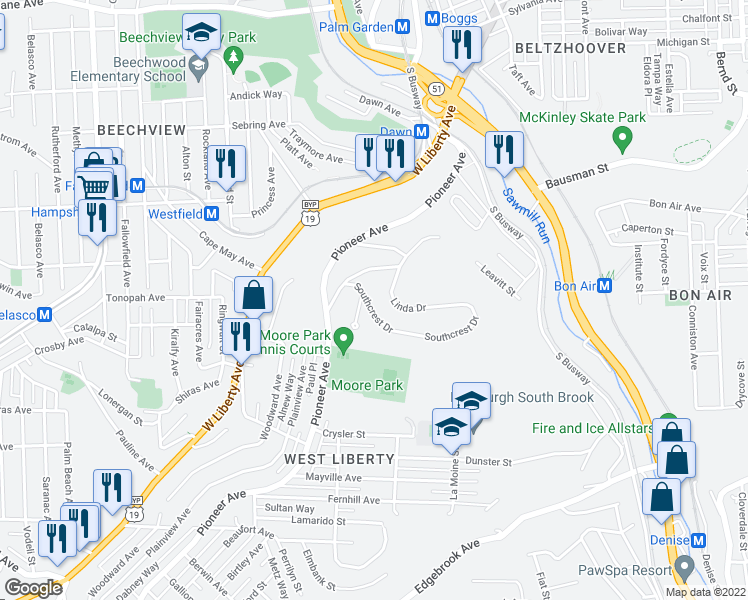 map of restaurants, bars, coffee shops, grocery stores, and more near 631 Southcrest Drive in Pittsburgh