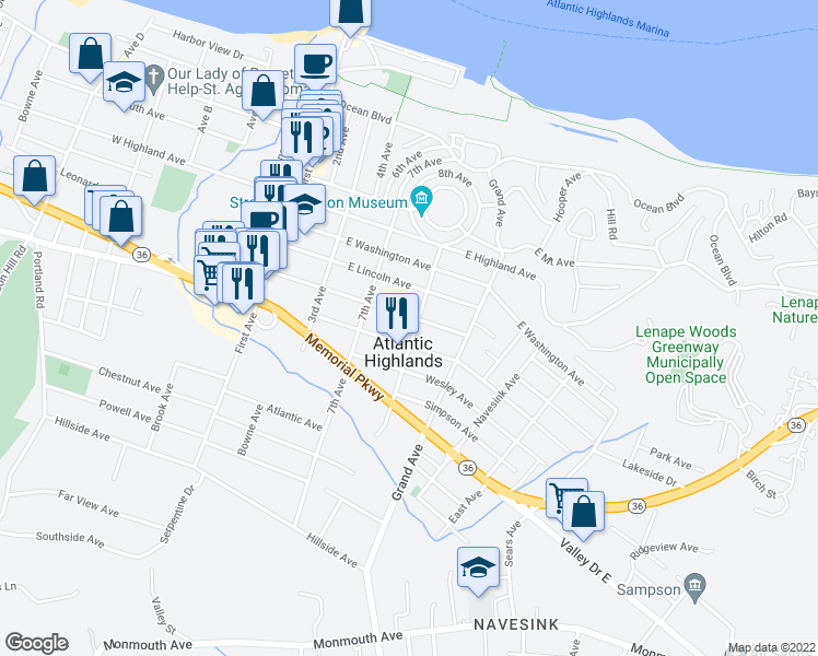 map of restaurants, bars, coffee shops, grocery stores, and more near 29 Central Avenue in Atlantic Highlands