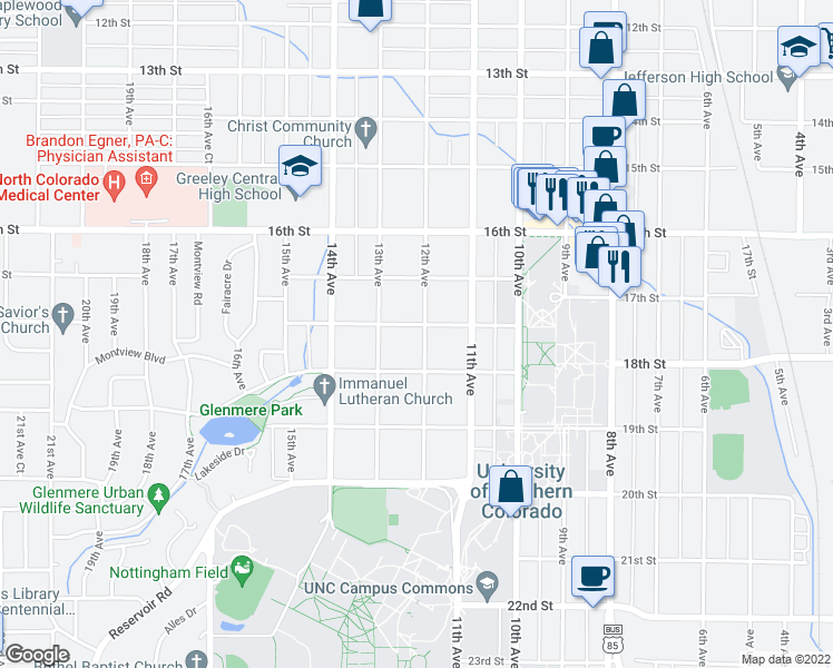 map of restaurants, bars, coffee shops, grocery stores, and more near 1725 12th Avenue in Greeley