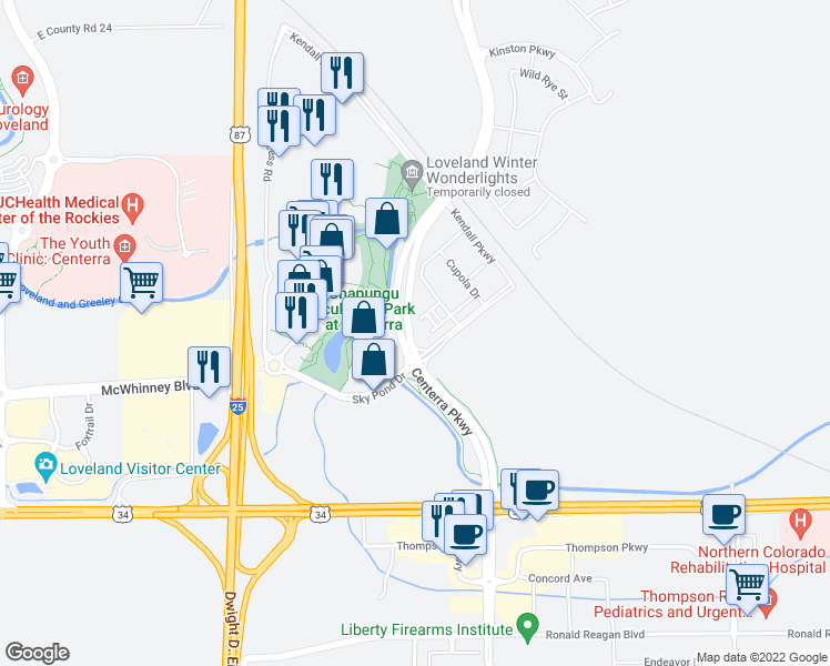 map of restaurants, bars, coffee shops, grocery stores, and more near 2105 Hopper Lane in Loveland
