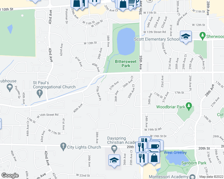 map of restaurants, bars, coffee shops, grocery stores, and more near 1640 37th Avenue in Greeley