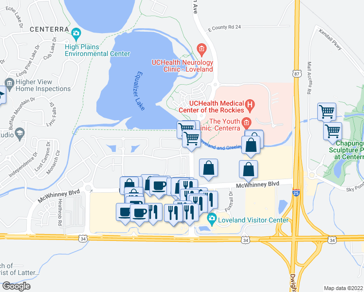 map of restaurants, bars, coffee shops, grocery stores, and more near 5185 Hahns Peak Drive in Loveland