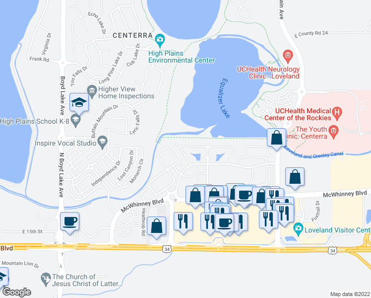 map of restaurants, bars, coffee shops, grocery stores, and more near 4745 Hahns Peak Drive in Loveland