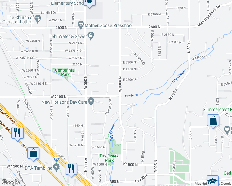 map of restaurants, bars, coffee shops, grocery stores, and more near 44 West 2100 North in Lehi