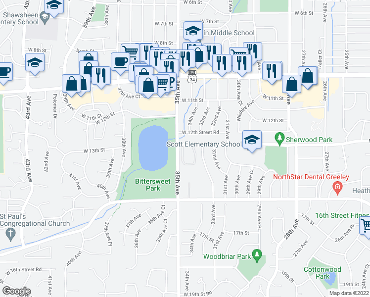 map of restaurants, bars, coffee shops, grocery stores, and more near 3400 West 13th Street in Greeley