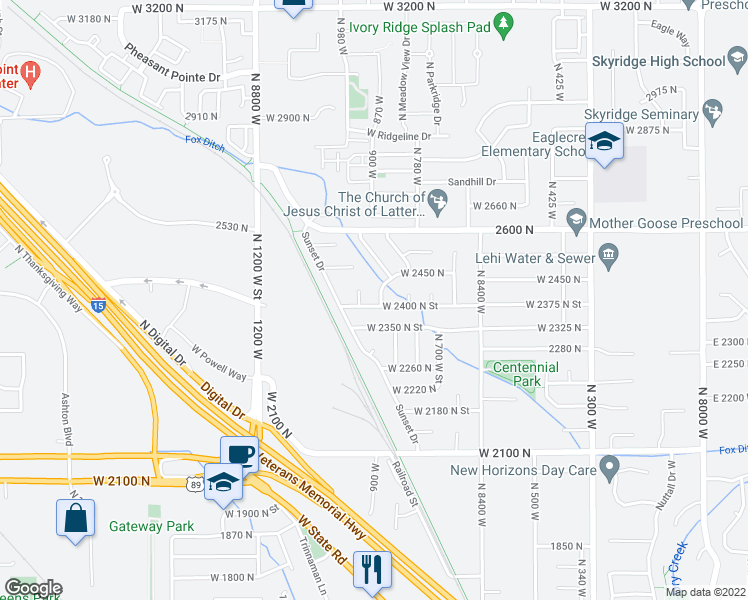 map of restaurants, bars, coffee shops, grocery stores, and more near 856 West 2400 North Street in Lehi