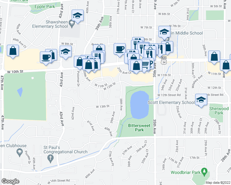 map of restaurants, bars, coffee shops, grocery stores, and more near 3812 West 12th Street Road in Greeley