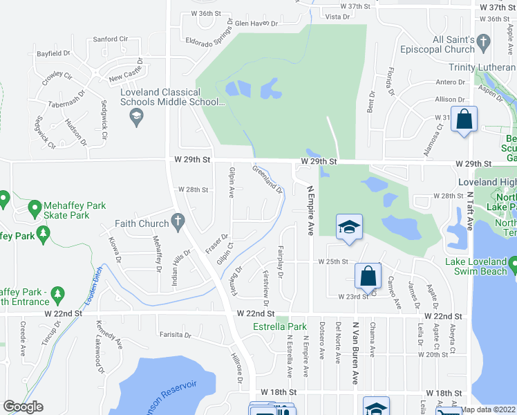 map of restaurants, bars, coffee shops, grocery stores, and more near 2641 Hartsel Court in Loveland