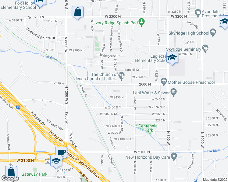 map of restaurants, bars, coffee shops, grocery stores, and more near 787 2600 North in Lehi