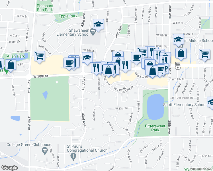 map of restaurants, bars, coffee shops, grocery stores, and more near 1023 39th Avenue in Greeley