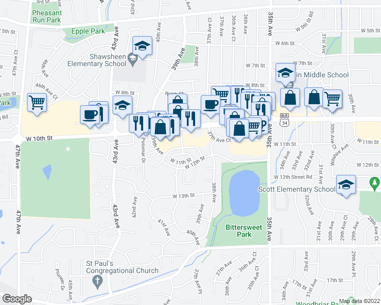 map of restaurants, bars, coffee shops, grocery stores, and more near 3822 West 11th Street in Greeley