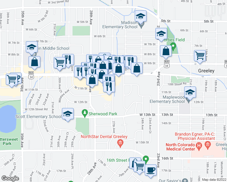 map of restaurants, bars, coffee shops, grocery stores, and more near 1108 26th Avenue in Greeley