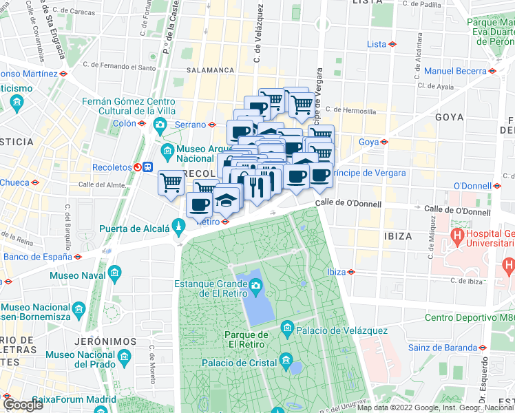 map of restaurants, bars, coffee shops, grocery stores, and more near 8 Calle de Velázquez in Madrid