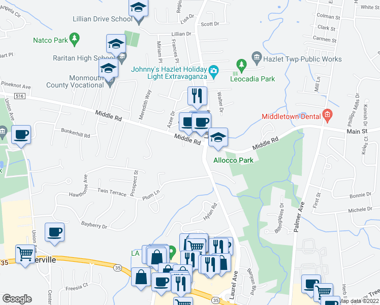 map of restaurants, bars, coffee shops, grocery stores, and more near 21 Lexington Court in Holmdel