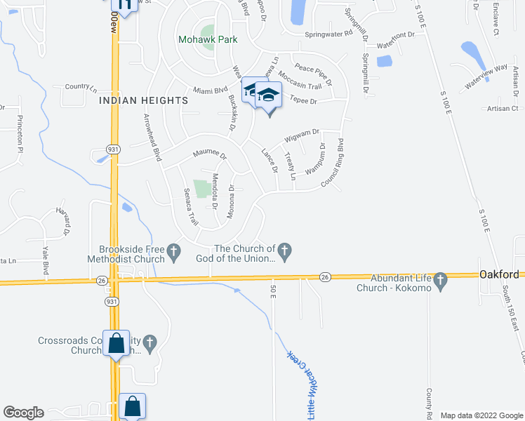 map of restaurants, bars, coffee shops, grocery stores, and more near 5906 Waubesa Way in Kokomo