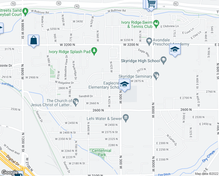 map of restaurants, bars, coffee shops, grocery stores, and more near 845 West 2800 North Street in Lehi
