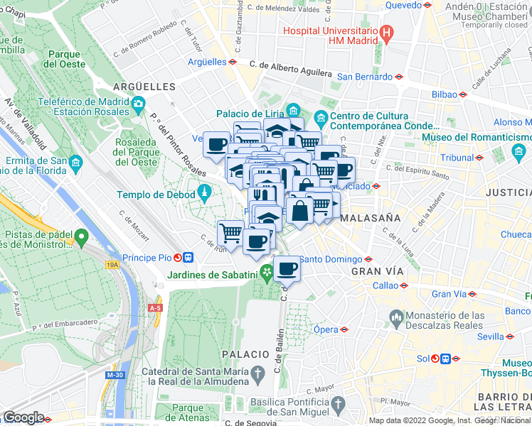 map of restaurants, bars, coffee shops, grocery stores, and more near 16 Plaza España in Madrid