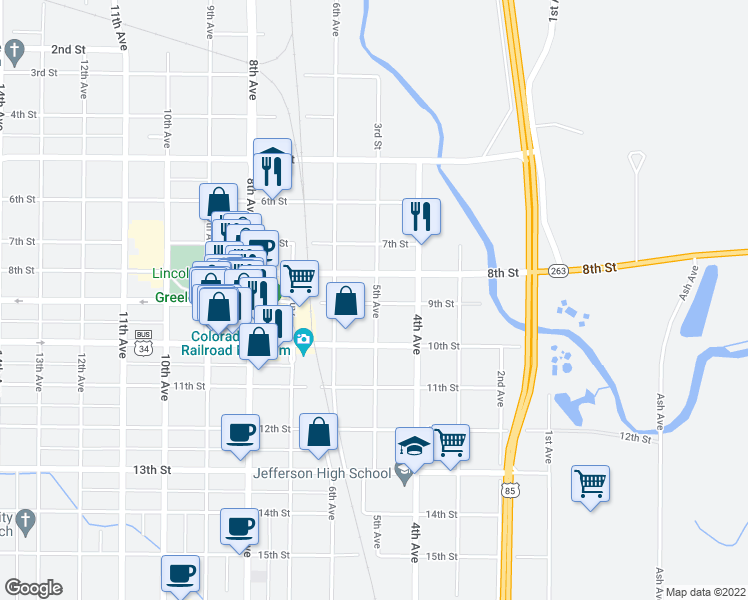map of restaurants, bars, coffee shops, grocery stores, and more near 426 9th Street in Greeley