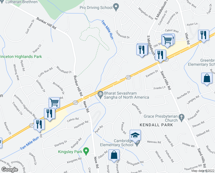 map of restaurants, bars, coffee shops, grocery stores, and more near 3453 Highway 27 in Princeton