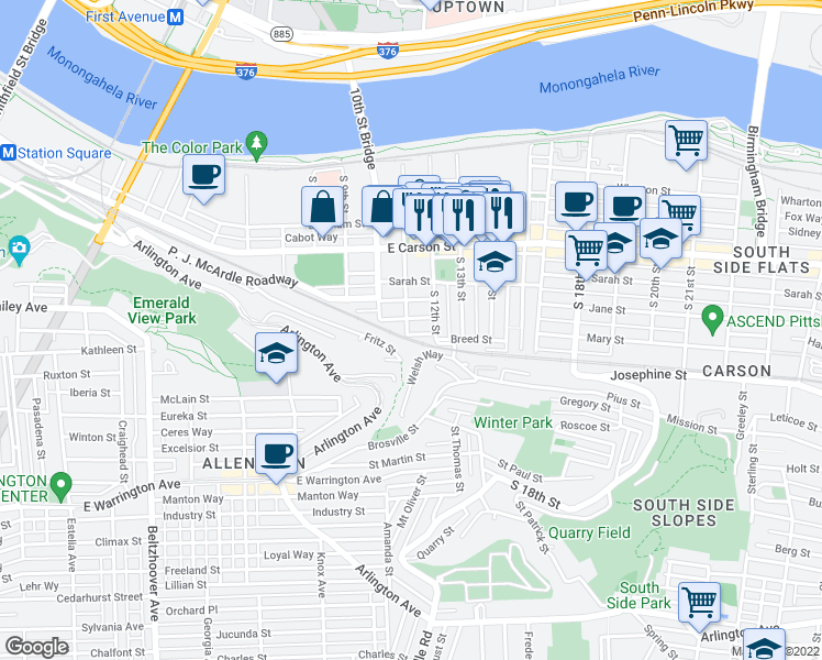 map of restaurants, bars, coffee shops, grocery stores, and more near 133 South 11th Street in Pittsburgh