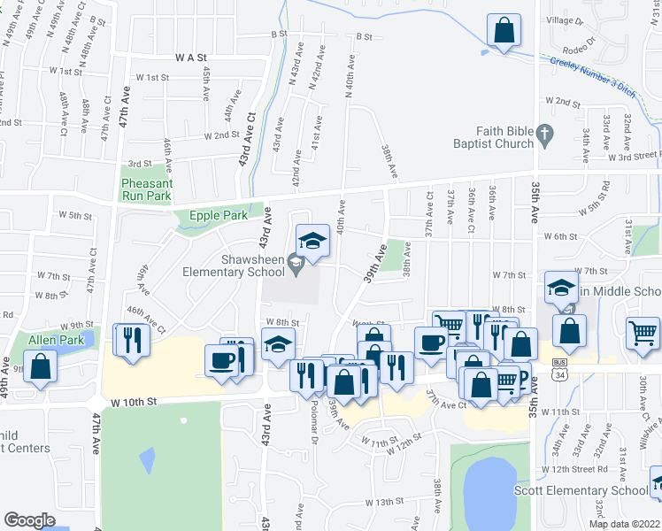 map of restaurants, bars, coffee shops, grocery stores, and more near 707 40th Avenue in Greeley