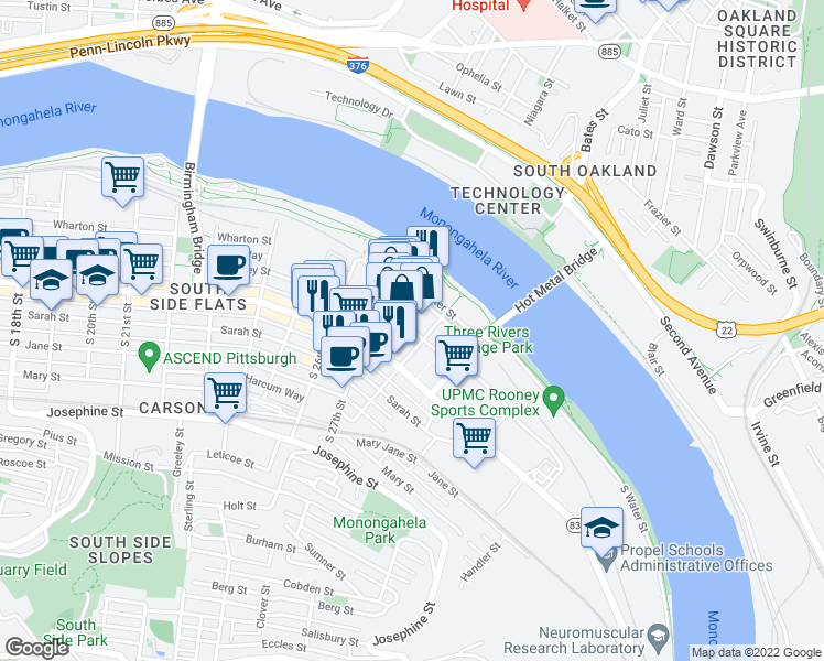 map of restaurants, bars, coffee shops, grocery stores, and more near 2746 Sidney Street in Pittsburgh