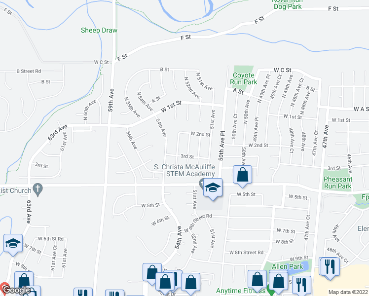 map of restaurants, bars, coffee shops, grocery stores, and more near 229 53rd Avenue in Greeley