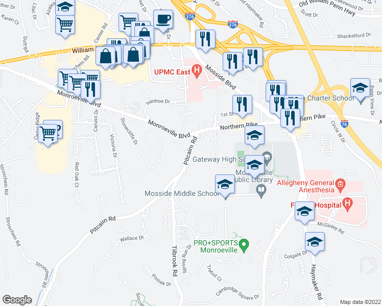 map of restaurants, bars, coffee shops, grocery stores, and more near 2665-2699 Pitcairn Road in Monroeville