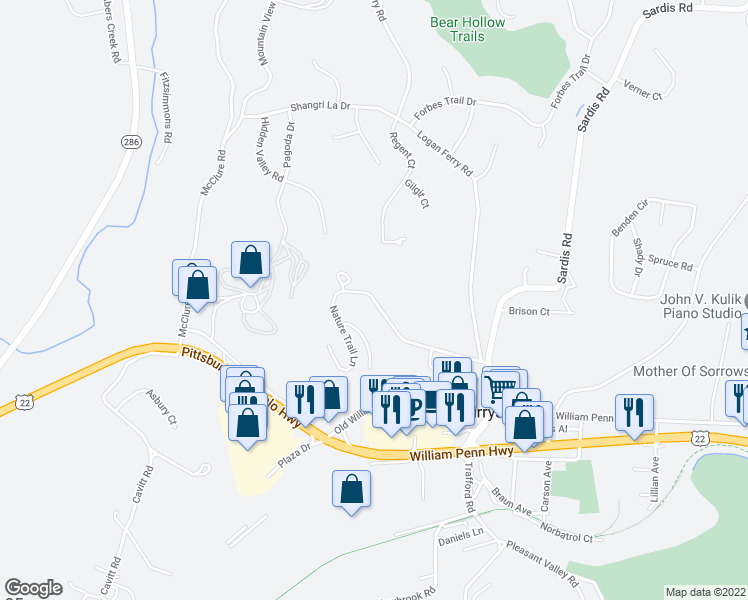 map of restaurants, bars, coffee shops, grocery stores, and more near Rainprint Square in Murrysville