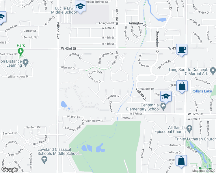 map of restaurants, bars, coffee shops, grocery stores, and more near 3890 Drake Ct in Loveland