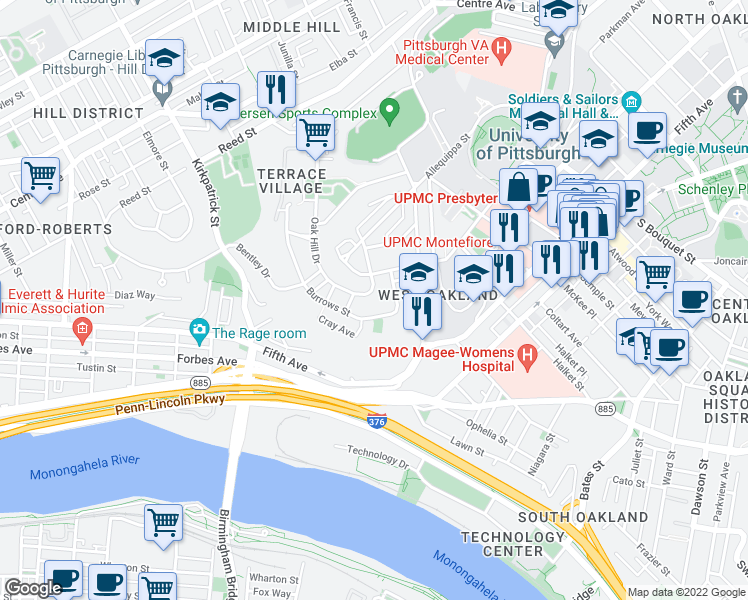 map of restaurants, bars, coffee shops, grocery stores, and more near 167 Burrows Street in Pittsburgh