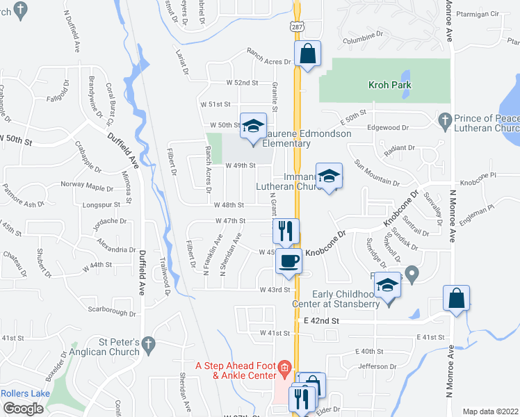 map of restaurants, bars, coffee shops, grocery stores, and more near 228 West 48th Street in Loveland