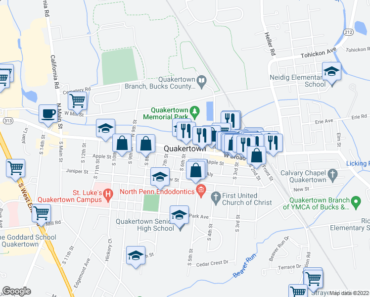 map of restaurants, bars, coffee shops, grocery stores, and more near in Quakertown