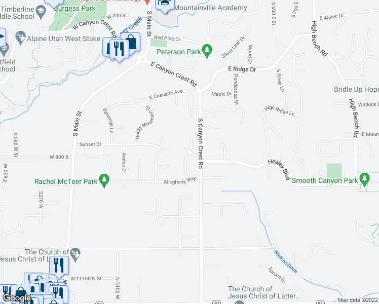 map of restaurants, bars, coffee shops, grocery stores, and more near 236 East Pyrenees Drive in Alpine