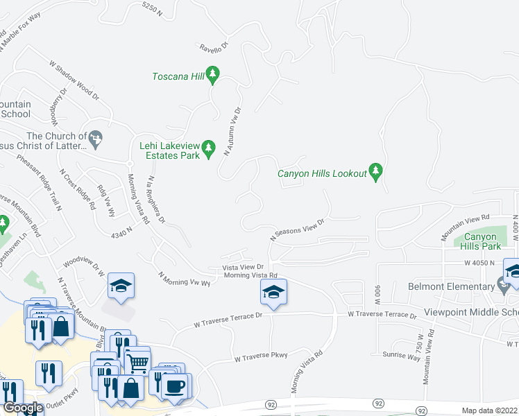map of restaurants, bars, coffee shops, grocery stores, and more near North Summer View Drive in Lehi
