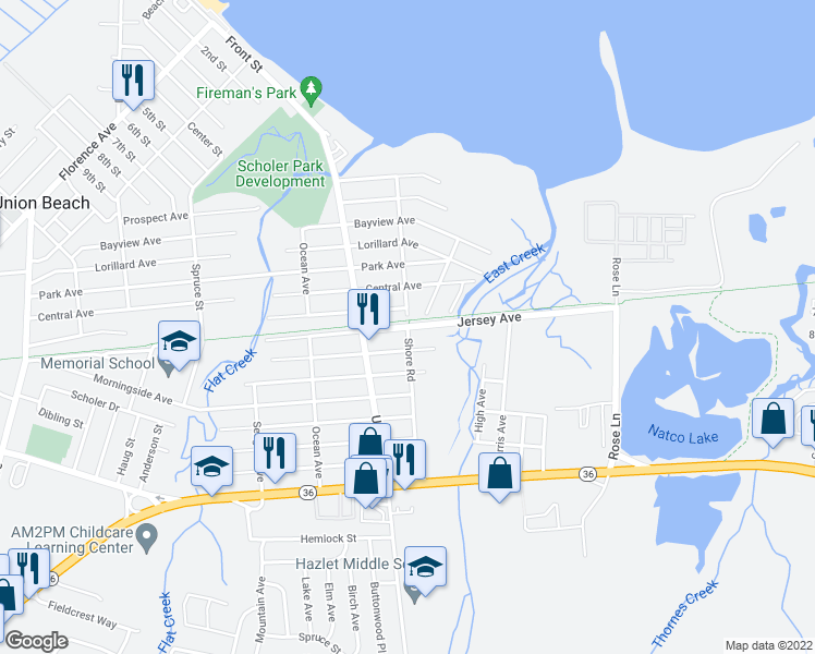 map of restaurants, bars, coffee shops, grocery stores, and more near Shore Road in Union Beach