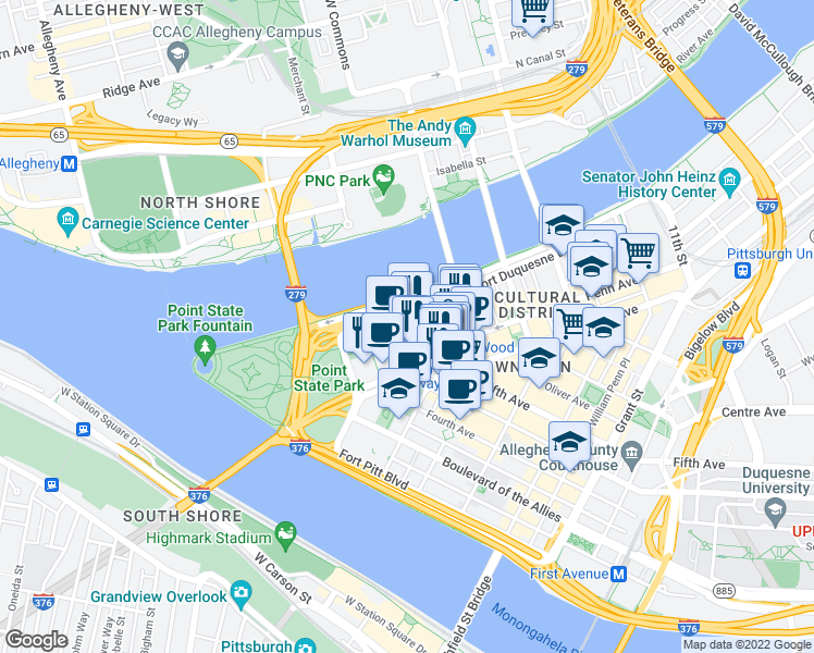 Map Of Restaurants Bars Coffee Shops Grocery Stores And More Near 625