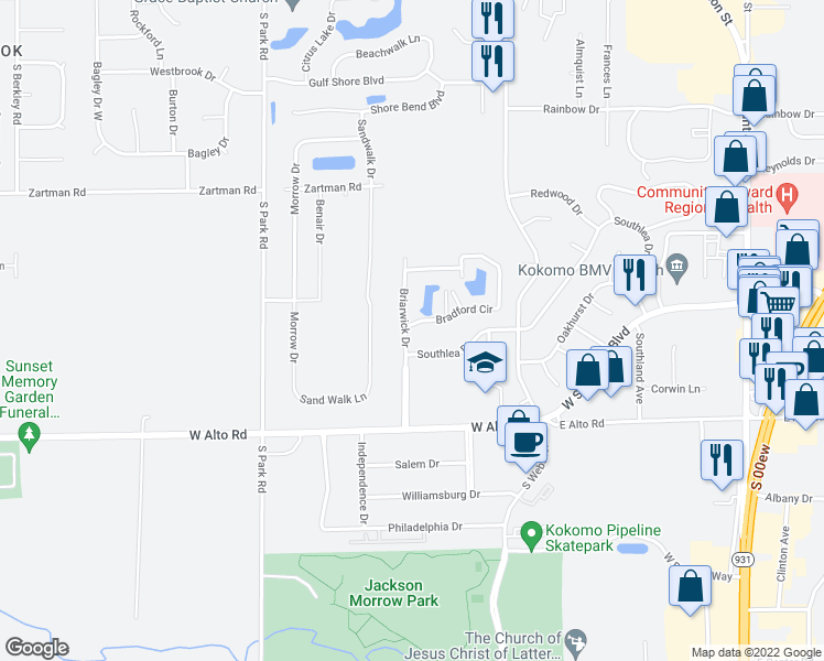 map of restaurants, bars, coffee shops, grocery stores, and more near 3701-3799 Briarwick Drive in Kokomo