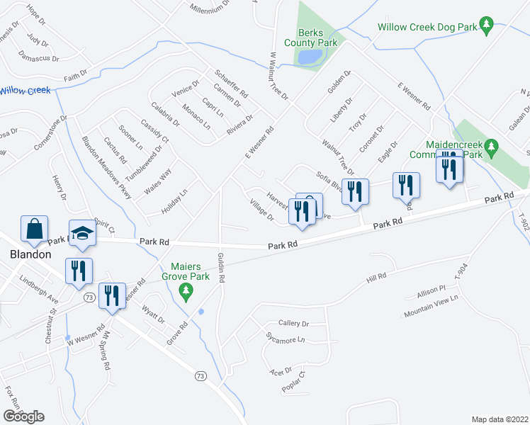 map of restaurants, bars, coffee shops, grocery stores, and more near 13 Villa Circle in Blandon