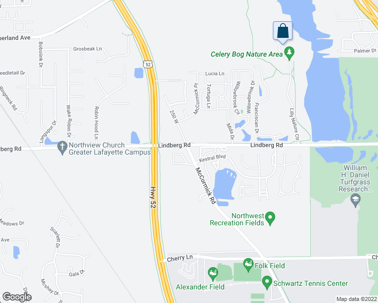 map of restaurants, bars, coffee shops, grocery stores, and more near Lindberg Road in West Lafayette